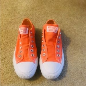 Converse orange sneakers worn once slip on